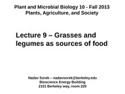 9 - Grasses and Legumes as Sources of Food