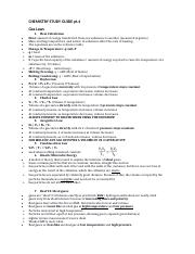 CHEMISTRY STUDY GUIDE #4
