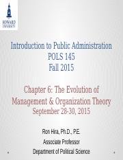 Introduction to Public Administration Lecture  Chapter 6 Evolution of Management & Org Theory Fall 2