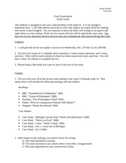 PL.Fa14 -- Final Examination Study Guide