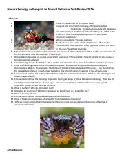 Honors Zoology Arthropod an Animal Behavior Test Review 2016