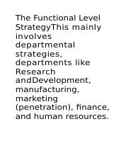 The Functional Level StrategyThis mainly involves departmental strategies               vvv.docx