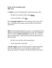 Chaucer poetry notes