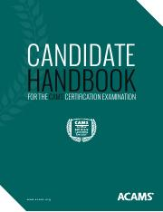 acams pdf - CANDIDATE HANDBOOK FOR THE CAMS CERTIFICATION