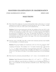 Abstract Algebra Exam Study Guide Spring 2009
