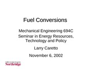 Lecture on Synthetic Fuels