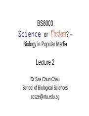 BS8003 Lecture 2