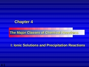 Chapter 04 - I - Ionic Solutions & Precipitation Reactions & II - Acid-Base Reactions
