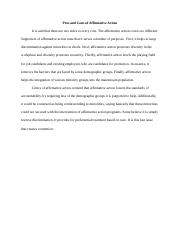 Week 4 - Pros and Cons of Affirmative Action.docx