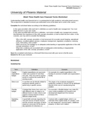 Week Three Health Care Financial Terms Worksheet