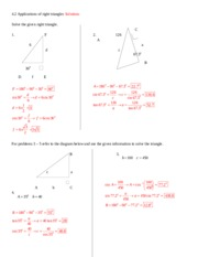 4.2 Applications of right triangles Solutions