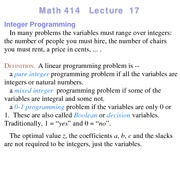 Lecture 17 on Linear Programming