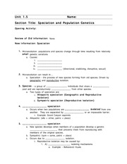 Speciation Study Guide