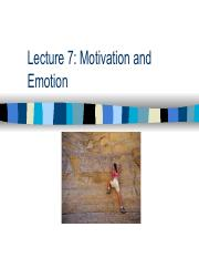 Lecture 7- Motivation and Emotion