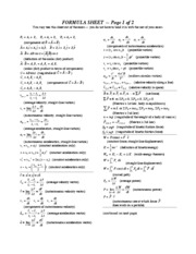 Second Midterm Formula Sheet