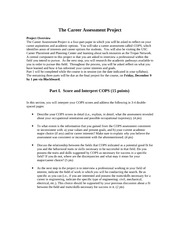 The Career Assessment Project Part 1 Fall 2011