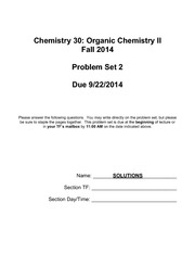 CHEM 30 Fall 2014 PSET Solutions 2