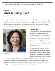 What Is College For- - The Chronicle of Higher Education.pdf