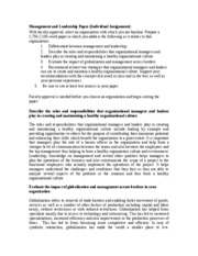Management and Leadership Paper