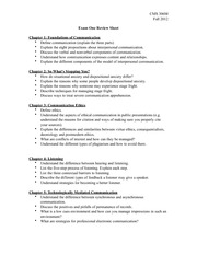 Exam One Review Sheet Fall 2012