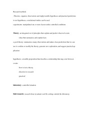notes - research methods part 1