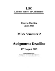 MBA 2  June  2009 - Course Outline