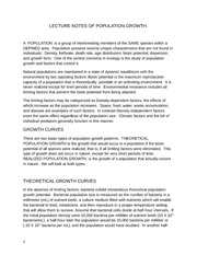 Notes on Population Growth Natural Science 1