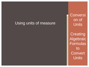 Using Units of Measure