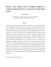 Dynamic Capital Adequacy Ratio for Bringing Equilibrium in Lending in the Banking Industry A study o