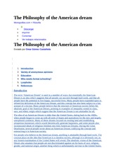 The Philosophy of the American dream