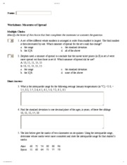Worksheet_ Measures of Spread
