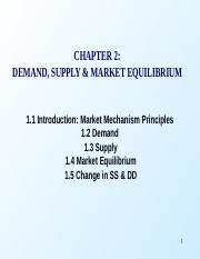 Chapter 2 Demand, Supply and Market Equilibrium 2