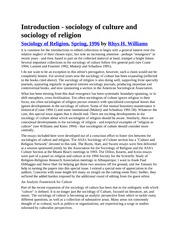 sociology of culture and sociology of religion