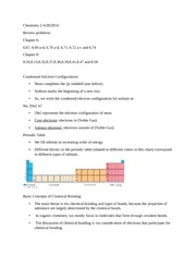 Chemistry 122: Review problems: Chapter 6 and Chapter 8