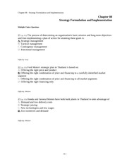 Chapter 08 Strategy Formulation and Implementation Quiz