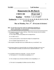 HW Ch. 08 (Part I) 10th Ed CHEM 180