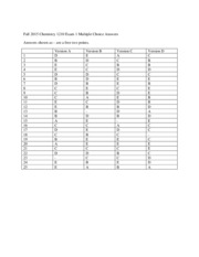 Fall 2015 Chemistry 1210 Exam 1 Multiple Choice Answers