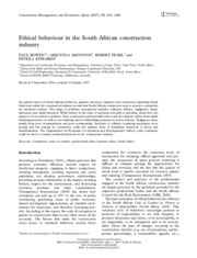 Ethical behaviour in the South African construction industry.