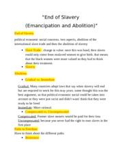 AFA 'End of Slavery (Emancipation and Abolition)' Lecture Notes