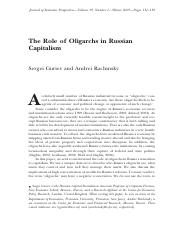 Guriev - The role of oligarchs in russian capitalism