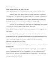 Interview Questions for family essay