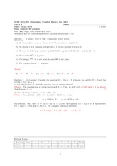 Exam 2 Solutions on Elementary Number Theory