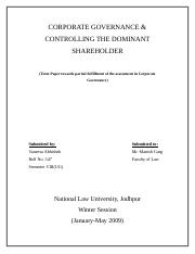 CORPORATE GOVERNANCE & CONTROLLING THE DOMINANT SHAREHOLDER.doc