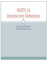 MATH 14 Lecture 1 (Definitions)(1)
