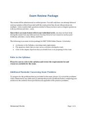 Exam 1 review package