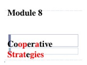 788, Module 8, Cooperative Strategies, Sp2011