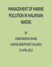 LECTURE #12 MGT OIL SPILLS & CASE STUDY