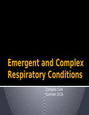 Emergent and Critical Respiratory Conditions