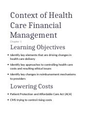 Ch 01 Context of Health Care Financial Management