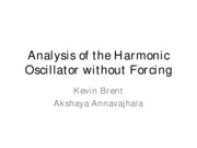 Analysis of the Harmonic Oscillator without Forcing